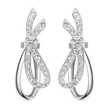 2018 Spring New Fashion 925 Sterling Silver Jewelry Swarovski Crystal Elements Bowknot Stud Earrings for Women(China)