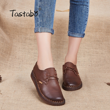 Tastabo New Handmade shoe 2017 Loafers Women Shoes Casual Work Driving Shoes Women Flats Genuine Leather Flat Plus Size(China)