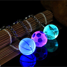 Fancy&Fantasy 2017 New LED Keychain 30MM Glass Ball Engraving Round 3D Globe Crystal Ball Colorful Pendant For Men(China)