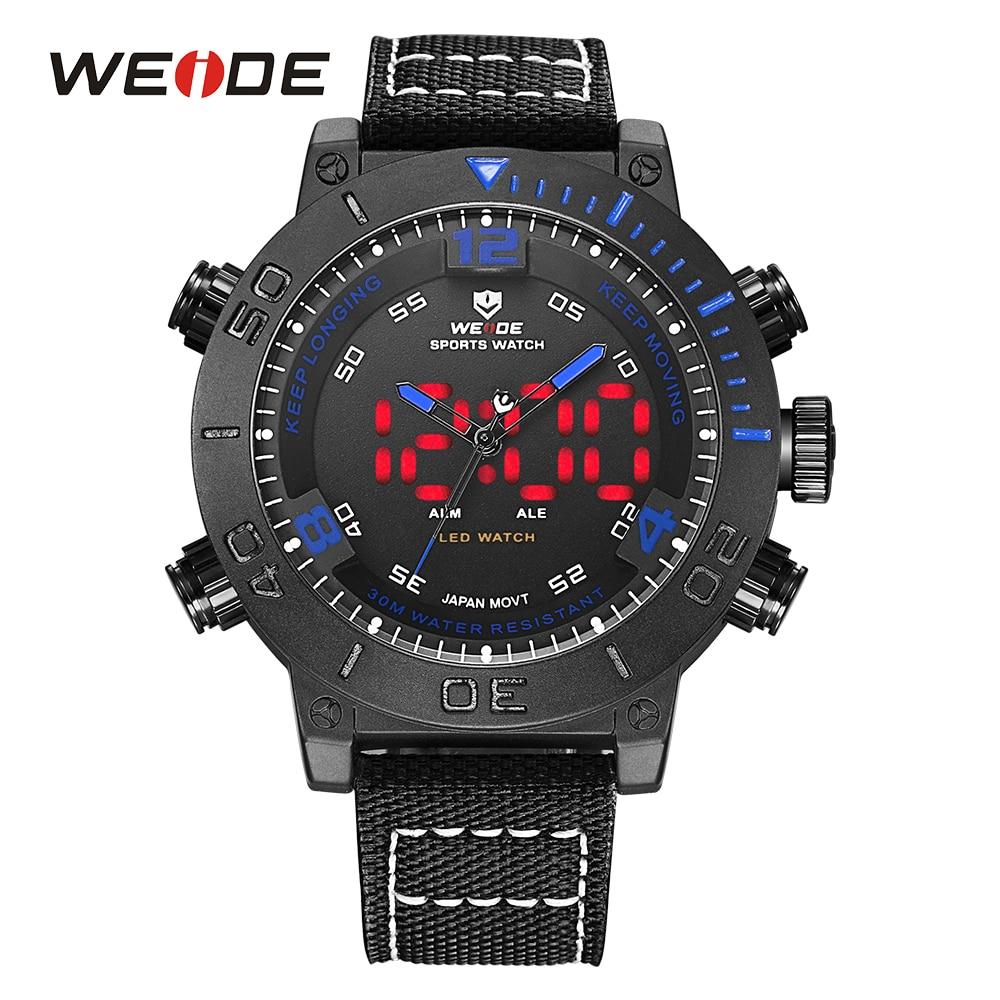 WEIDE Luxury Brand Watches LED Alarm Stainless Steel Buckle Nylon Band Blue Digital Sport Herren Quartz Army Men Analog Relogio<br>