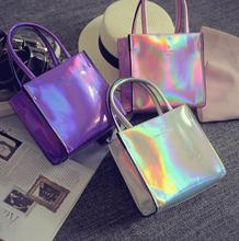 New fashion women's bag hologram handbag laser silver shoulder bag Small Silver Street Bag for girls Luxury Free Shipping Bolsa