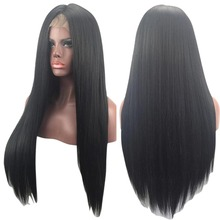 Lady 30inch Brazilian Full&Front Lace Fashion Wigs Natural Straight Styling Accessories Black Long Hair For Cool Party H7JP(China)