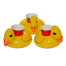 Mini water Coasters boia Duck inflatable cup holder Swimming pool drink float can beer sand seat yeti Water Bottle Accessories