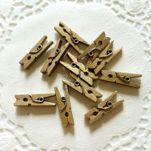 (100 units) 25mm Gold mini Wooden Spring Clip | MINI PEG FOR Christmas Holiday Gold Wedding Decoration