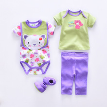 2017 Summer baby Clothing Sets cotton baby girl clothes Newborn boy 5pcs suit infant short sleeve romper+pants+socks+Bib+t-shirt(China)