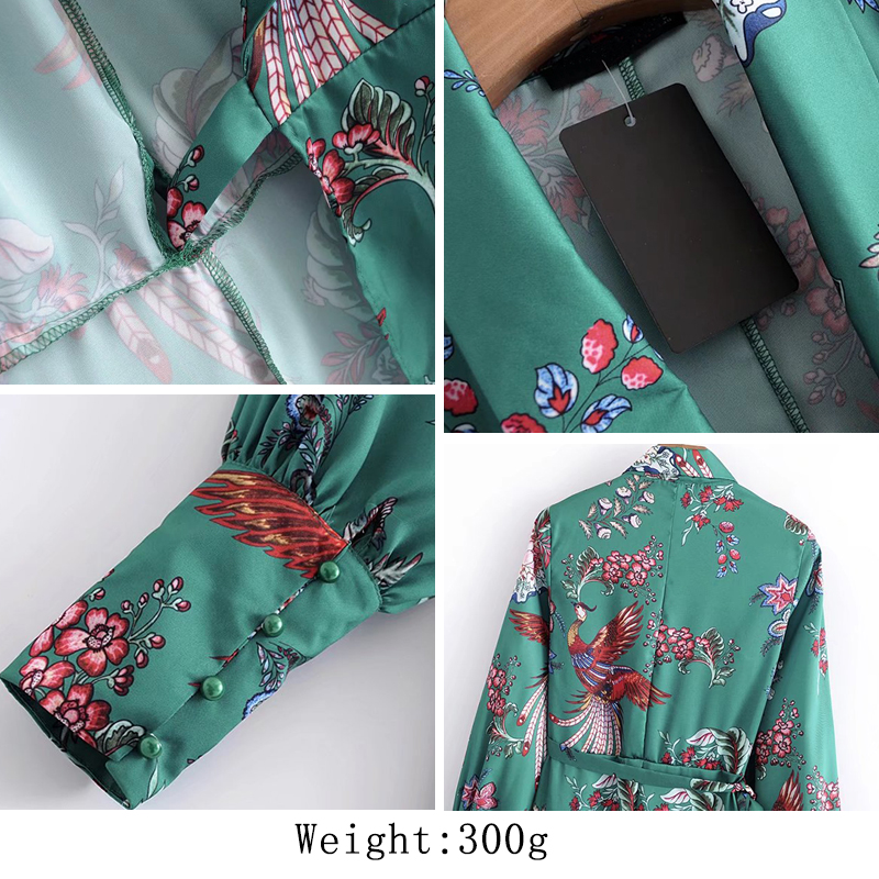 Kimono Green Floral Knee Length Dress (Us 2-6)