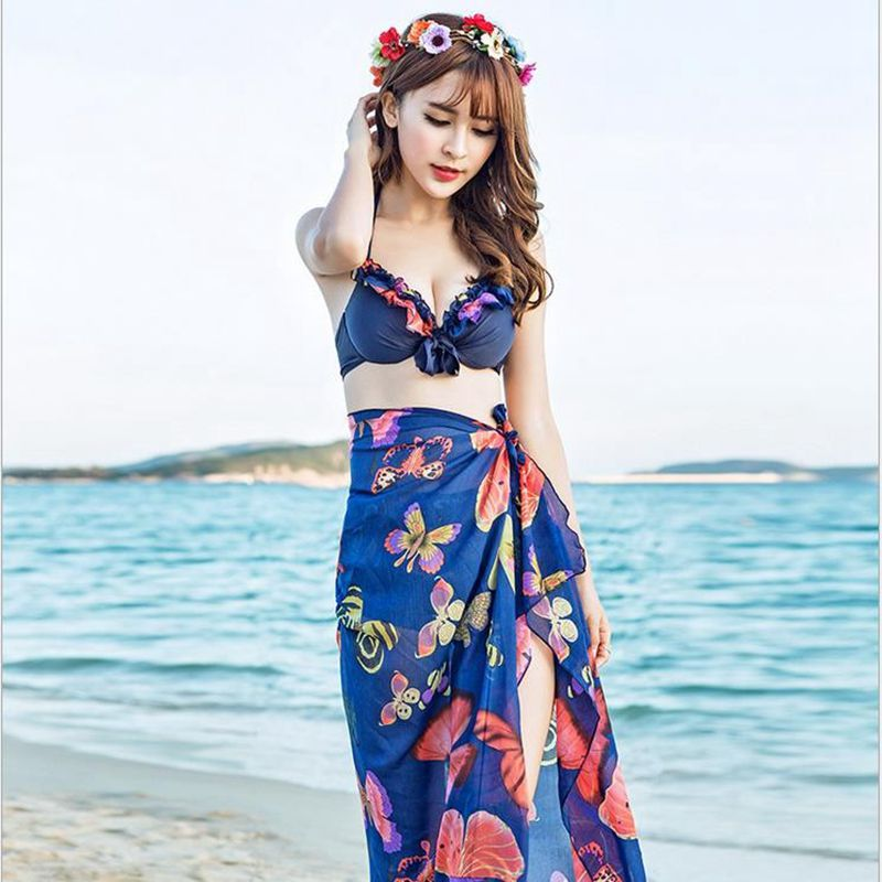 New Korean style female Summer Swimming Suit Women Mode Three Piece Bikini Set Floral Print Top+Bottom+Cover-up Bathing Suit<br><br>Aliexpress