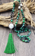 YA2688 Pave Green color Tassel Pearl Pave Pendant Agat Stone 8mm Beads Knot Handmade Necklace 30inch long(China)