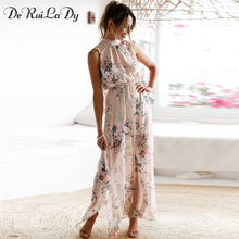 Buy DeRuiLaDy Women Floral Print Halter Chiffon Long Dress 2018 Sexy Backless Split Maxi Dresses Vestidos Casual Beach Summer Dress