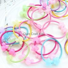 200pcs Ponytail Holder Hair Elastic Tie with kawaii Flower scottie dog,mouse lucited beaded mix set