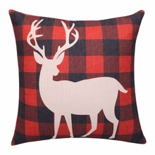 Buffalo Plaid Cushion Covers Red Deer Decorative Pillow Cases Linen Throw Pillow Covers Christmas Pillowcase for sofa home decor(China)