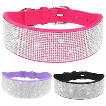 Bling Full Rhinestone Crystal Pet Diamante Dog Collars Black Pink Purple Soft Seude Leather For Medium Large Dogs S M L(China)