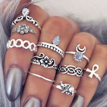 10pc/set Unique Boho Beach Carved Punk Elephant Moon Finger Midi Ring Set Party Jewelry Gift for Women Girl Knuckle Anillo G029(China)