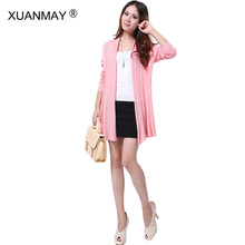 2017 new Casual knitted cardigan Free Shipping White Cardigan Sweater Women Autumn fashion Long style women Cardigan sweater(China)