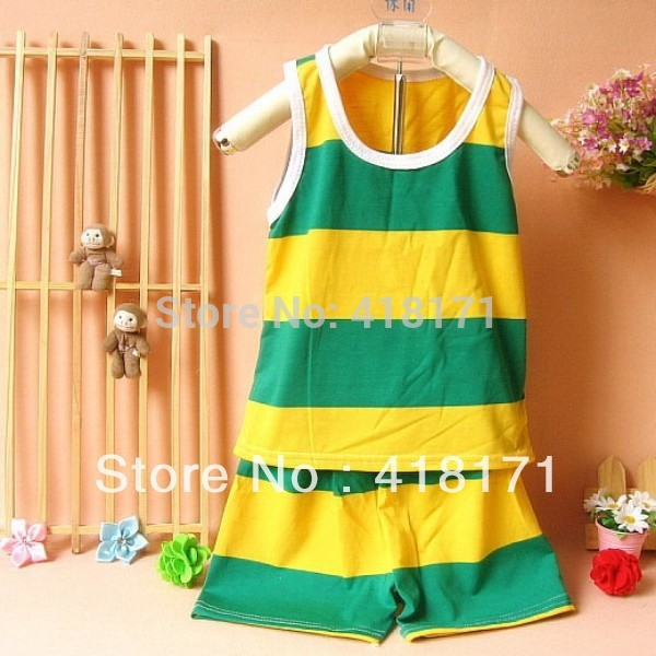 2017New summer baby boys cool suits boy&girl stripe sleeveless t shirt+shorts 2pcs suits Infant kids cheap sets free shipping(China (Mainland))