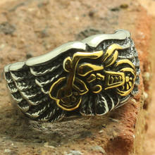 Mens Boys 316L Stainless Steel Angle Wing Cool Golden Motorcycle Biker Cool Ring Factory Price(China)