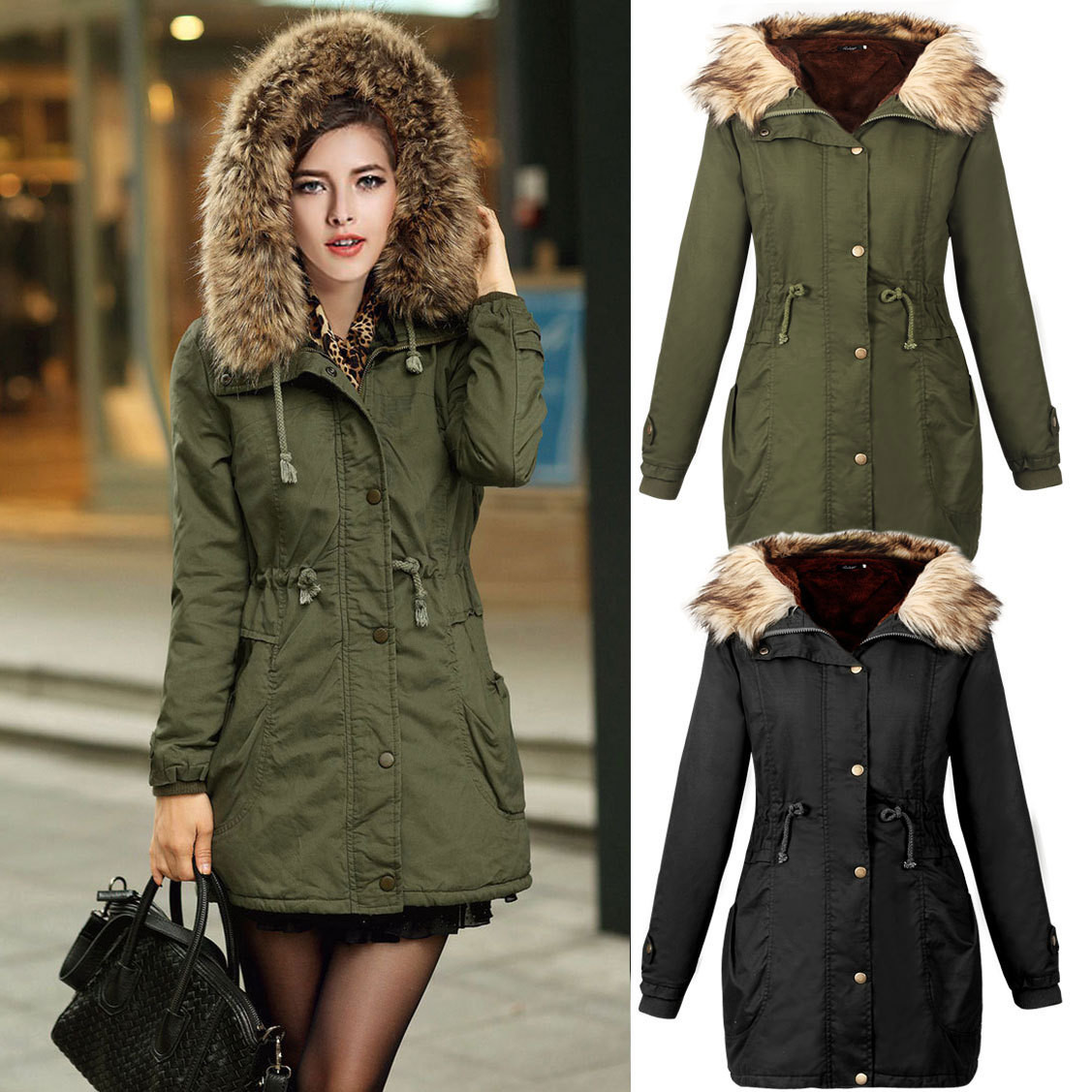 Womens Army Green Long Autumn Winter Casual Jackets Coats With Faux Fur Hooded Cargo Parkas Coat Warm Outwear Autumn Winter 0Одежда и ак�е��уары<br><br><br>Aliexpress