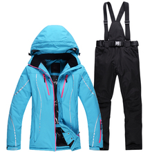 Rossignol skis winter 2017 women's waterproof ski jacket + ski pants set women's outdoor sportwear female snow free delivery(China)