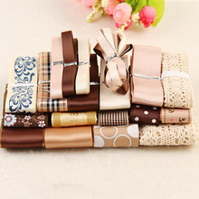 Coffee Style 21YDS Printed Grosgrain Ribbon Solid Satin Tapes Fabric Lace Mixed Ribbon Set DIY Accessories Sewing Supplies N-15