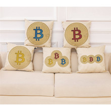 Buy Bitcoin Coins Pattern Cushion Cover Decorative 45x45cm Cotton Linen Throw Pillow Case Cover Sofa Home Decor Housse De Coussin for $2.71 in AliExpress store