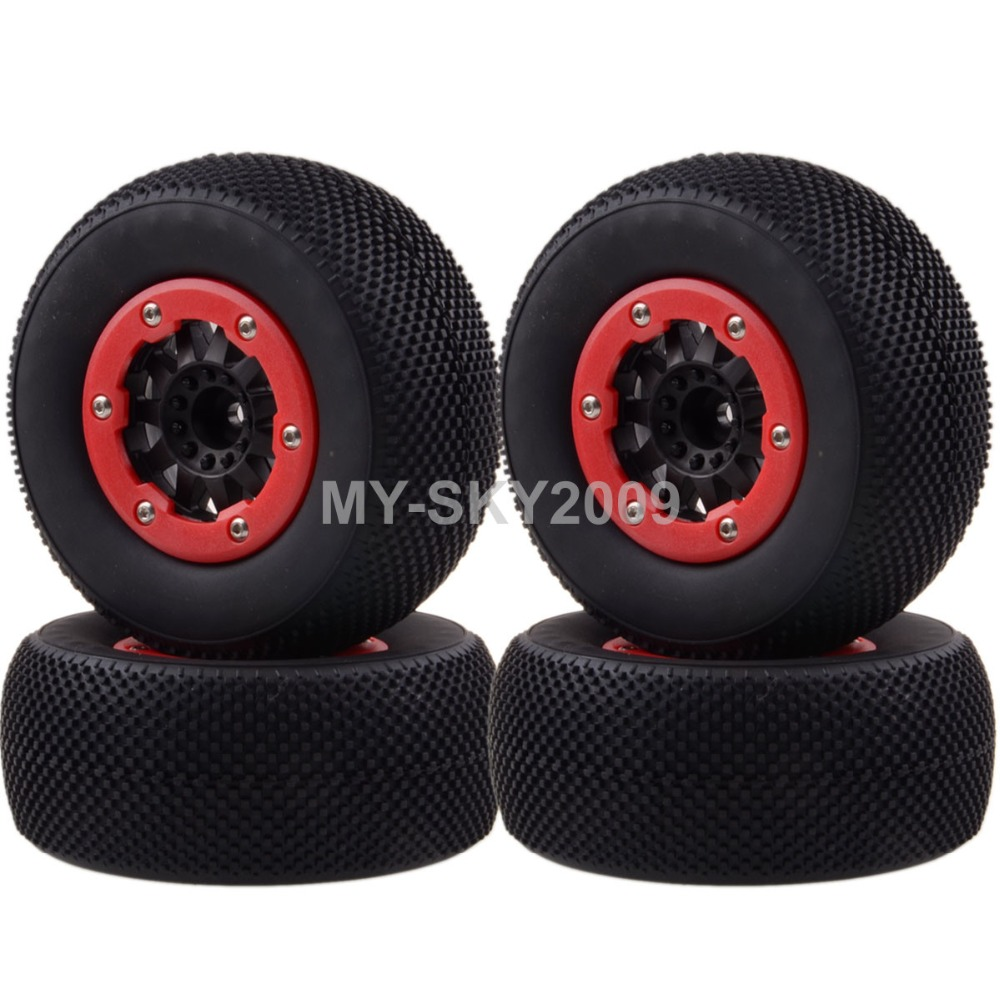 4pcs Wheel Rims &amp; Tyres, 108mm Tires 1182-16 For RC 1/10 Traxxas Racing Slash 4x4 short coures truck<br>