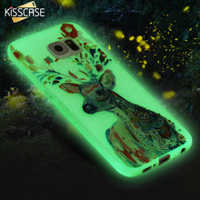 KISSCASE Glow in Dark Luminous Case For Samsung S6 Ultra Slim Clear Soft TPU 3D Art Printed Cover For Samsung Galaxy S6 Coque