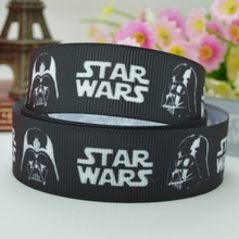 "DUWES 7/8"" 22mm star wars logo black Printed grosgrain ribbon hair bow DIY handmade wholesale Customization OEM 50YD(China)"