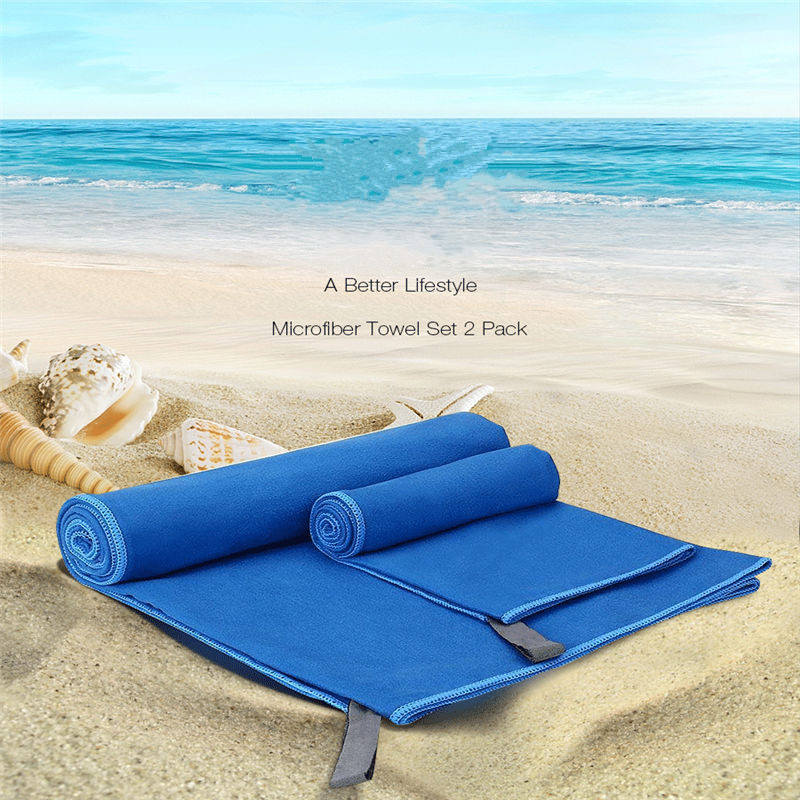 Newest 2Pcs Quick Drying Travel Sports Towel Blanket Bath Swimming Pool  With Mesh Bag Yoga Mats Beach Towel Microfiber Set