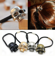FJ 0116 Retro punk style - the first three-dimensional head metal skull hair band ring hair accessories factory direct
