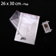 "250 Pcs 26 x 30 cm FOLD-OVER FLAP SEAL CRYSTAL CLEAR POLY PACKAGING BAGS 10.24"" x 11.81"" TRANSPARENT PLASTIC BAG"
