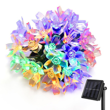 50 LEDS 7M Peach Floral Solar Lamp Power LED String Fairy Lights Solar blossom Garlands Garden Christmas Decor For Outdoor(China)