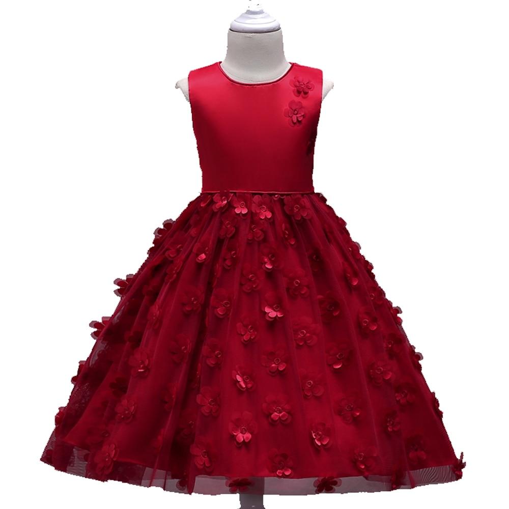 D.S Kids Girls Wedding Flower Girl Dress Princess Party Pageant Formal Dress Childrens Petals Sleeveless Summer Dress 3-8Years<br>