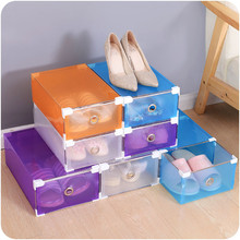 1PC Foldable Clear Plastic Shoe Box Drawer Stackable Storage Organiser Non-toxic Transparent Thickened drawer Shoe Box