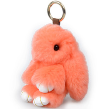 13CM Rex Fur Rabbit Keychain Pendant Charm Bunny Keychains For Women Purse Bag Keyrings Gift Jewelry
