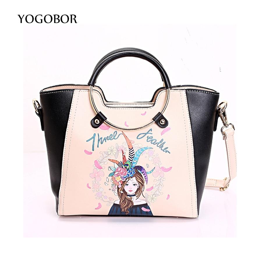 YOGOBOR New Women Handbags Cartoon Printing Trapeze Tote Bag Ring Handle Ladies PU Leather Messenger Bag Vintage Shoulder Bag<br>