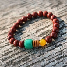 8mm Red Tibetan Buddhist Sandalwood Prayer Beads Mala Buddha Bracelet Rosary Wooden Bangle For Women Man Jewelry Gift J1246