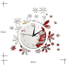2016 hot coffee shop sitting room wall clock bedroom wall clock creative personality wall stick flower mirror clock