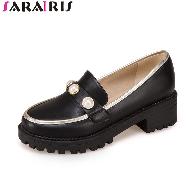 SARAIRIS 2018 Spring Autumn Sweet Shallow Pumps Women Big Size 34-43 Platform slip-on Shoes Woman Med Heels Casual Shoes<br>