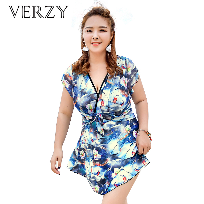 Verzy 2017 Skirt Swimsuit Women One Pieces Floral Bird Print Dress Swimsuit Plus Large Size Swimwear Bathing Suit Fat Girl Sweet<br>