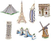 2017 New 3D Wooden Puzzle DIY Model Building Kits World Famous Architecture for Children Adults(China)