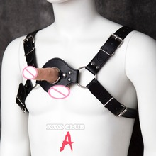 Buy Adult sex games costumes male Harness Sexy bondage Chest strap, can strap-on dildo, sex slave bondage restraint men