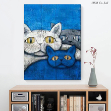 New Arrival High Quality Modern Abstract Fat Cat Oil Painting Artist Hand-painted Funny Animal Fat Cat Oil Painting Decoration