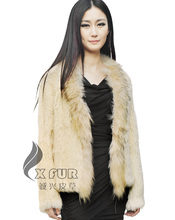CX-G-A-95C Hot Selling New Design Genuine Rabbit Fur Jacket With Raccoon Fur Wholesale Retain OEM From China(China)