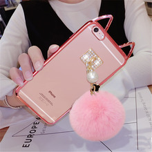 For iPhone6 6S 7Plus Case Luxury Cute Cartoon Cat ear Electroplating Transparent Soft Phone Case Plush Pearl Fur Ball Back Cover