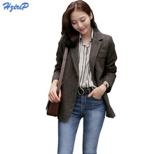 HziriP Women Striped Woolen Blazer 2017 Autumn Winter Thick Jacket Suit Blazers Long Sleeve Office Work Coat Plus Size XS-3XL(China)