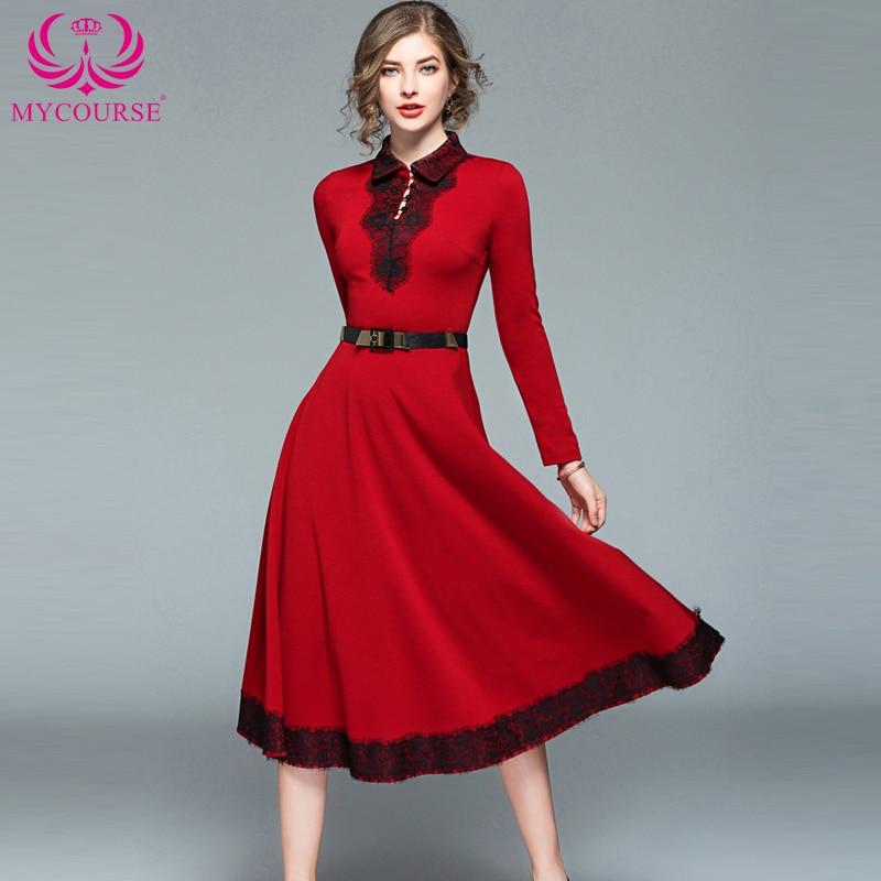 MYCOURS Fashion Women Vintage Elegant Tunic Dress Sweet Patchwork Lapel Lace  Dress Long Sleeve Slim Beautiful 1b789253058a
