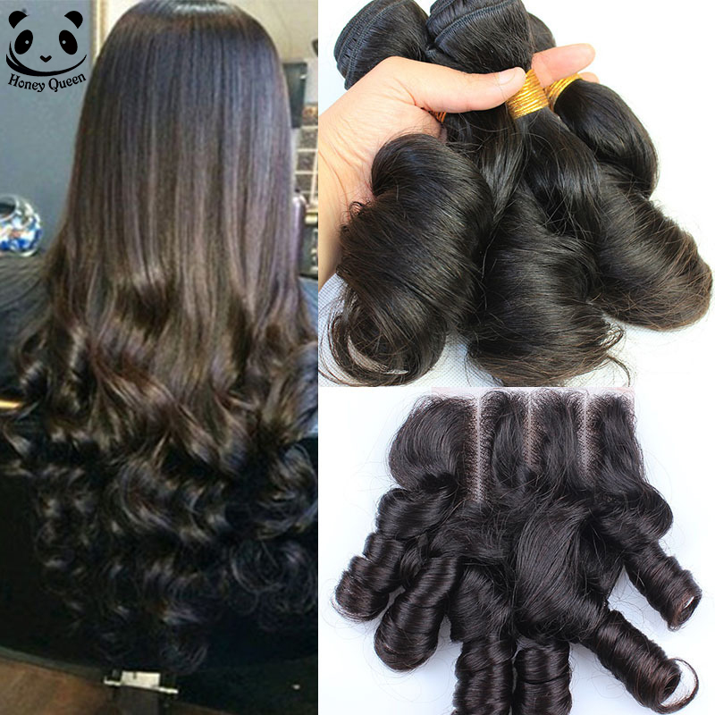 Aunty Funmi Hair With Closure 3 Bundles Bloomy Brazilian Curly Virgin Human Hair With Closure 4 Pcs Lace Closure With Bundles<br><br>Aliexpress