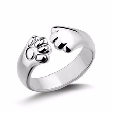 Women Lady Silver Plated Paw  Cat Claw Rings Fashion Design Open Party Ring Adjustable For Young Girls Jewelry Christmas Gift