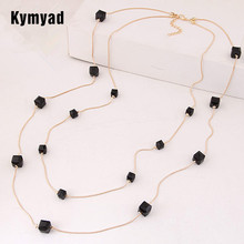 Kymyad Fashion Gold Color Chain Double layer Long Sweater Necklaces For Women Bijoux Cubic Crystal Beads Necklaces & Pendants(China)
