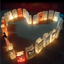 20pcs/lot Heart Tea light Holder Luminaria Paper Lantern Candle Bag for Party Home Outdoor Wedding Decoration Gift Free Shipping